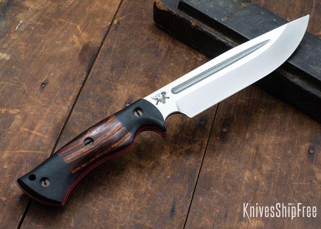 Dark Timber Knives: Honey Badger 3V - Black Micarta - Desert Ironwood - Red Liners - Satin - 121644