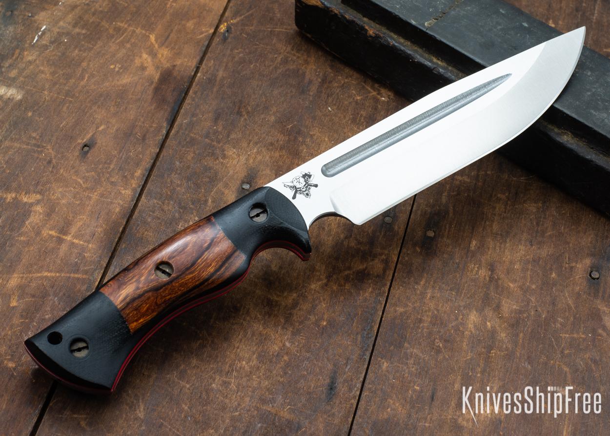 Dark Timber Knives: Honey Badger 3V - Black Micarta - Desert Ironwood - Red Liners - Satin - 121645