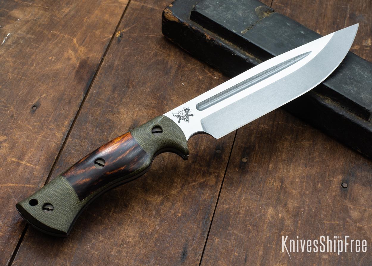 Dark Timber Knives: Honey Badger 3V - Green Micarta - Desert Ironwood - Black Liners - Tumbled - 121648