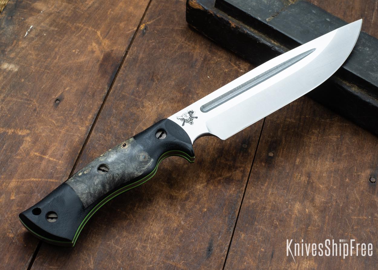 Dark Timber Knives: Honey Badger 3V - Black Micarta - Buckeye Burl - Green Liners - Satin - 121652