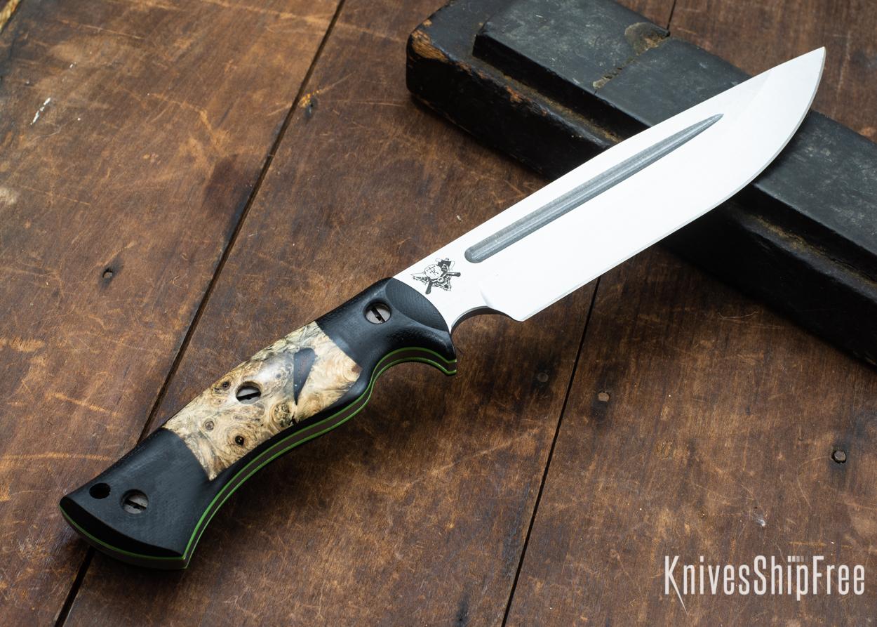 Dark Timber Knives: Honey Badger 3V - Black Micarta - Buckeye Burl - Green Liners - Satin - 121653