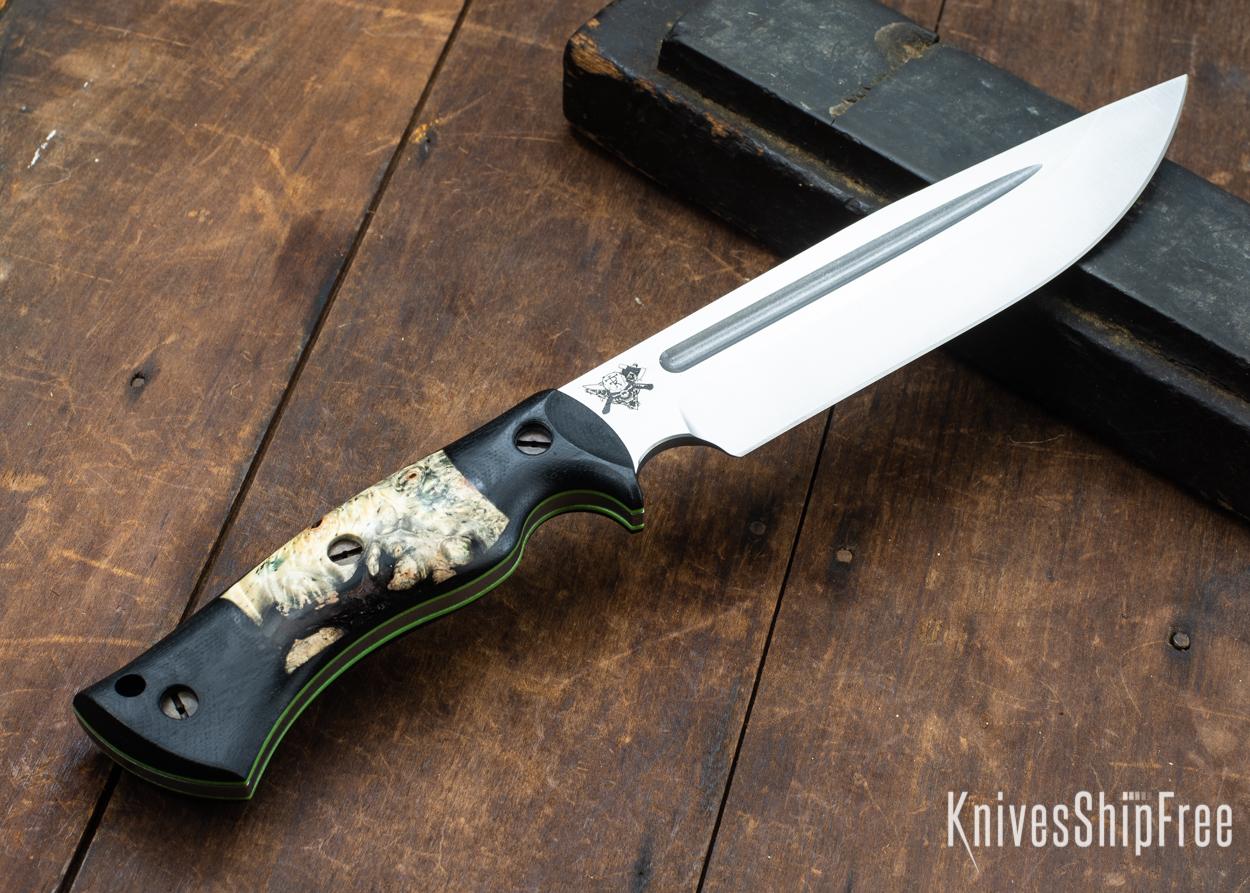 Dark Timber Knives: Honey Badger 3V - Black Micarta - Buckeye Burl - Green Liners - Satin - 121654