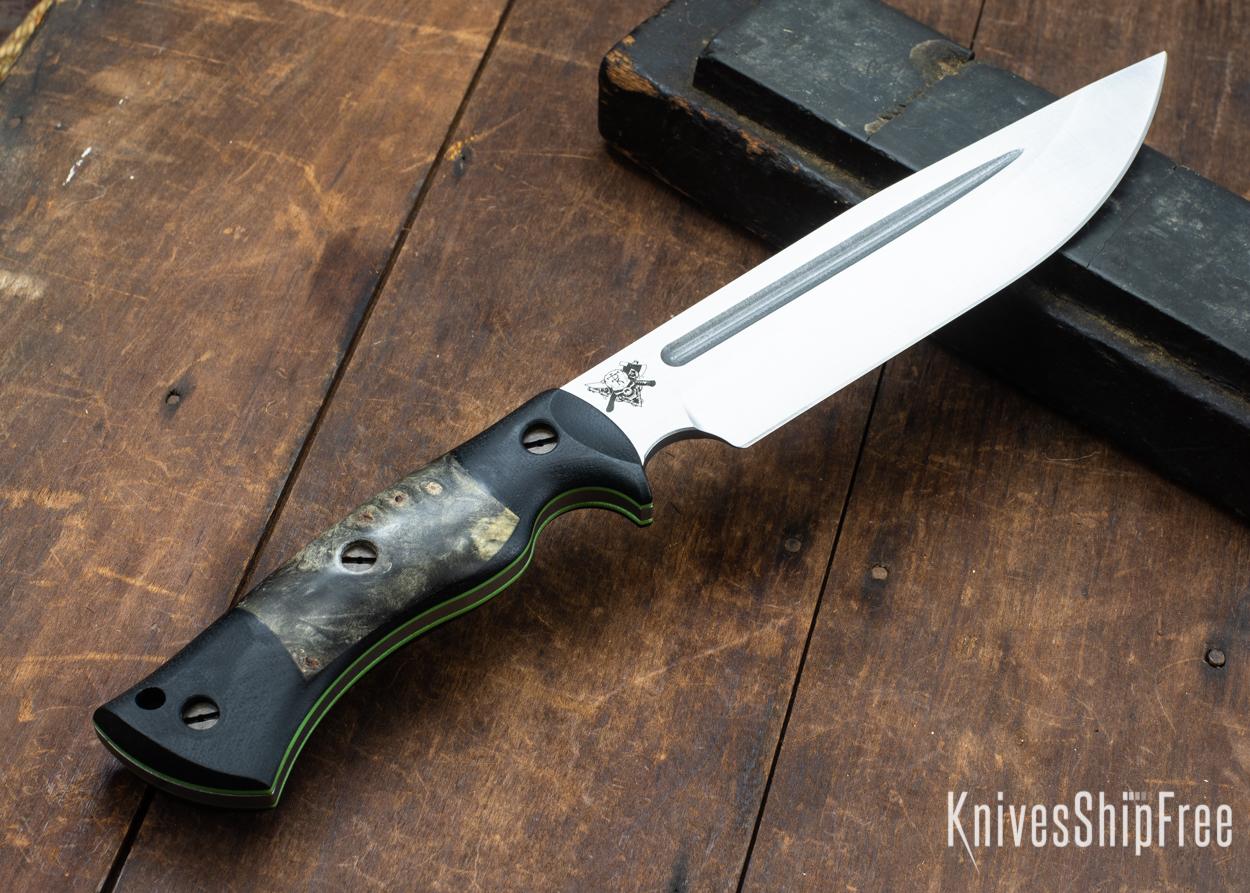 Dark Timber Knives: Honey Badger 3V - Black Micarta - Buckeye Burl - Green Liners - Satin - 121655
