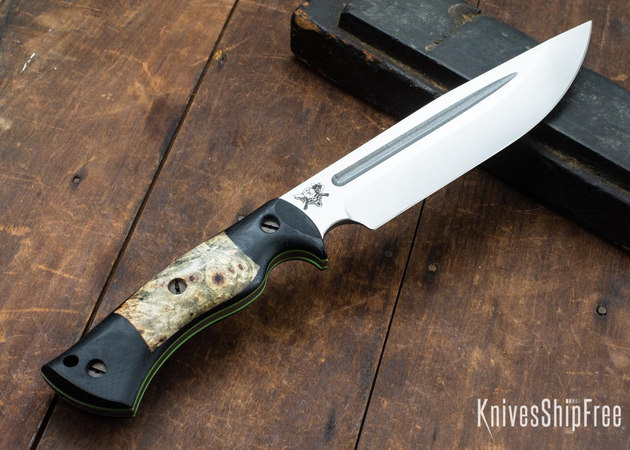 Dark Timber Knives: Honey Badger 3V - Black Micarta - Buckeye Burl - Green Liners - Satin - 121656
