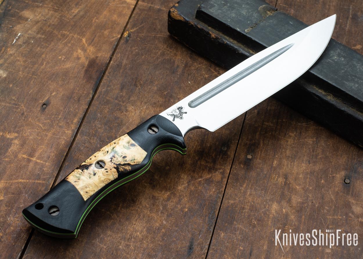 Dark Timber Knives: Honey Badger 3V - Black Micarta - Buckeye Burl - Green Liners - Satin - 121657