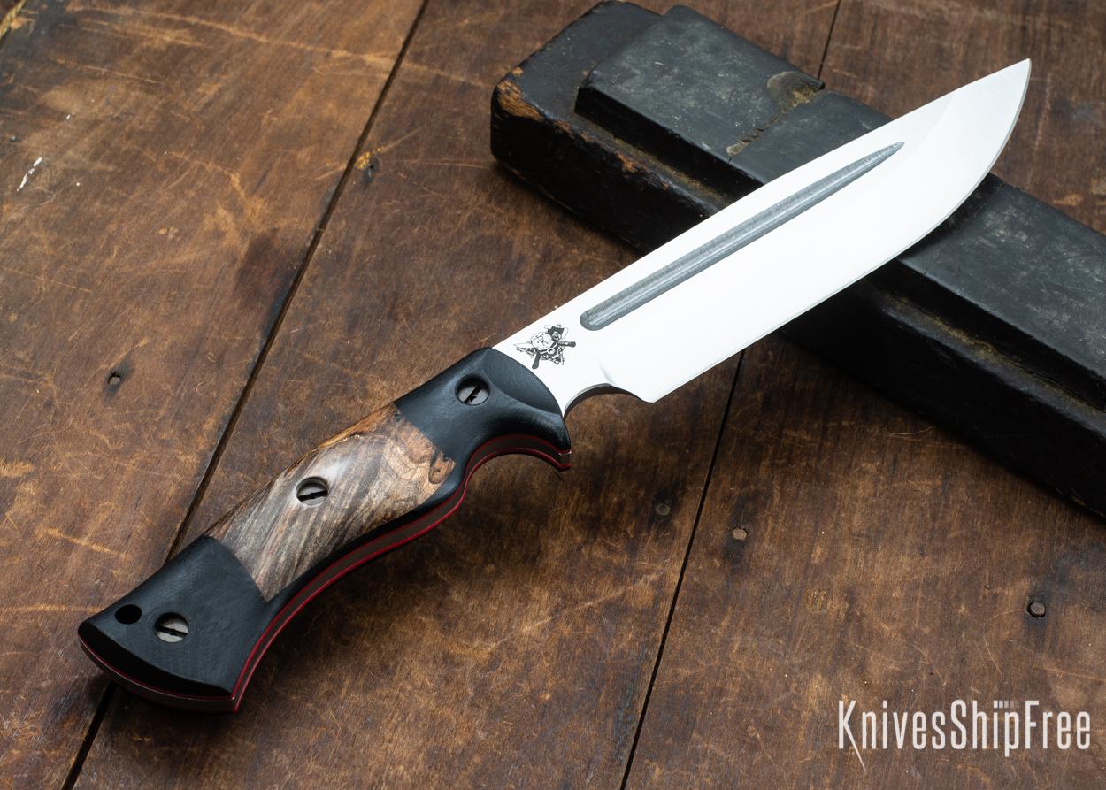 Dark Timber Knives: Honey Badger 3V - Black Micarta - Dark Maple Burl - Red Liners - Satin - 121658