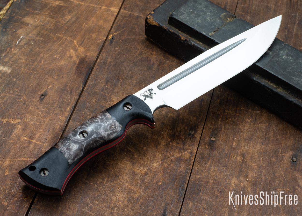 Dark Timber Knives: Honey Badger 3V - Black Micarta - Dark Maple Burl - Red Liners - Satin - 121659