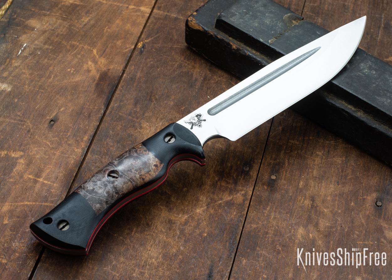 Dark Timber Knives: Honey Badger 3V - Black Micarta - Dark Maple Burl - Red Liners - Satin - 121660