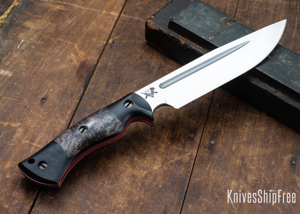 Dark Timber Knives: Honey Badger 3V - Black Micarta - Dark Maple Burl - Red Liners - Satin - 121661