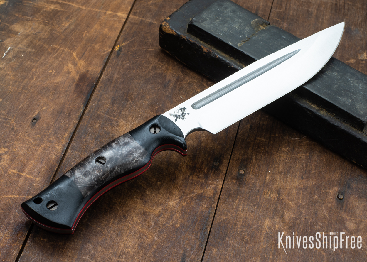 Dark Timber Knives: Honey Badger 3V - Black Micarta - Dark Maple Burl - Red Liners - Satin - 121663