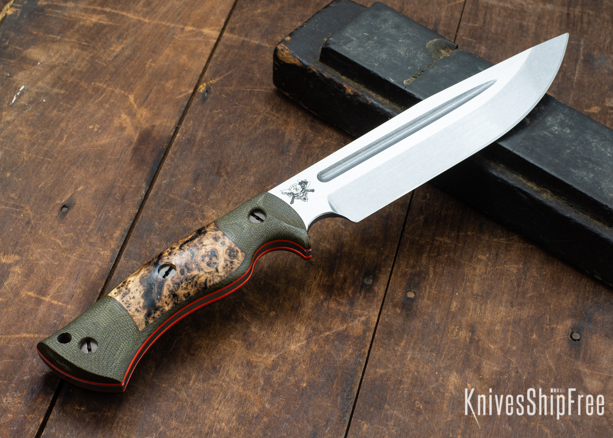 Dark Timber Knives: Honey Badger 3V - Green Micarta - Black Ash Burl - Orange Liners - Tumbled - 121664