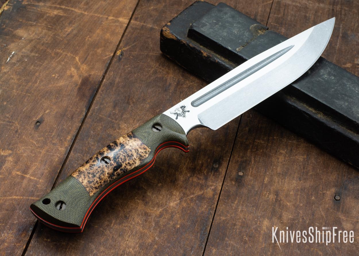 Dark Timber Knives: Honey Badger 3V - Green Micarta - Black Ash Burl - Orange Liners - Tumbled - 121665
