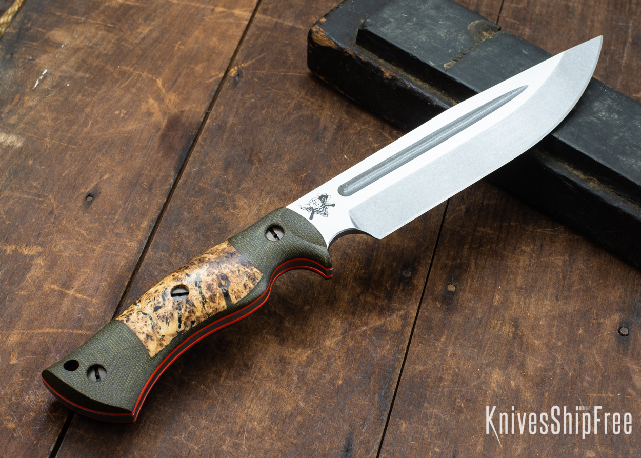 Dark Timber Knives: Honey Badger 3V - Green Micarta - Black Ash Burl - Orange Liners - Tumbled - 121666