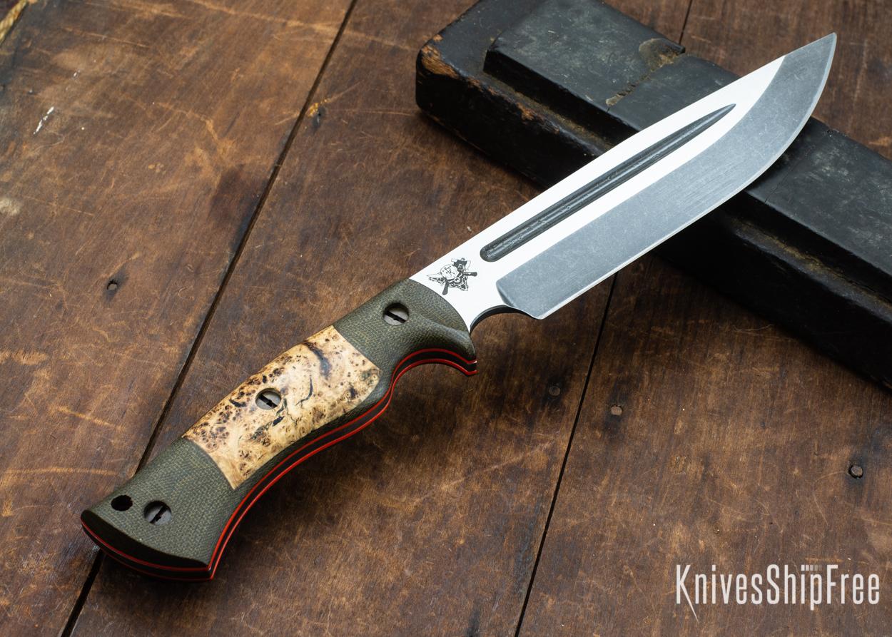 Dark Timber Knives: Honey Badger 3V - Green Micarta - Black Ash Burl - Orange Liners - Acid Washed - 121667