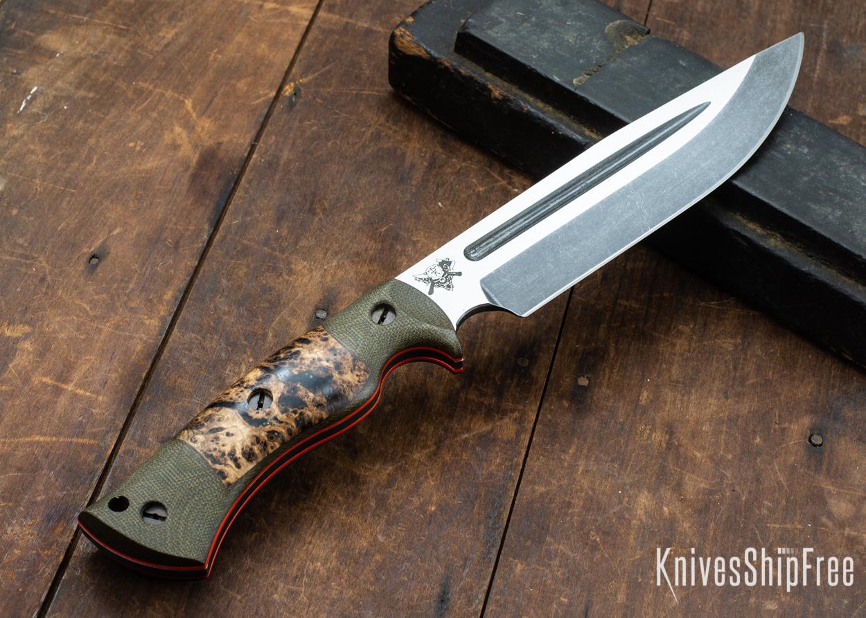 Dark Timber Knives: Honey Badger 3V - Green Micarta - Black Ash Burl - Orange Liners - Acid Washed - 121668