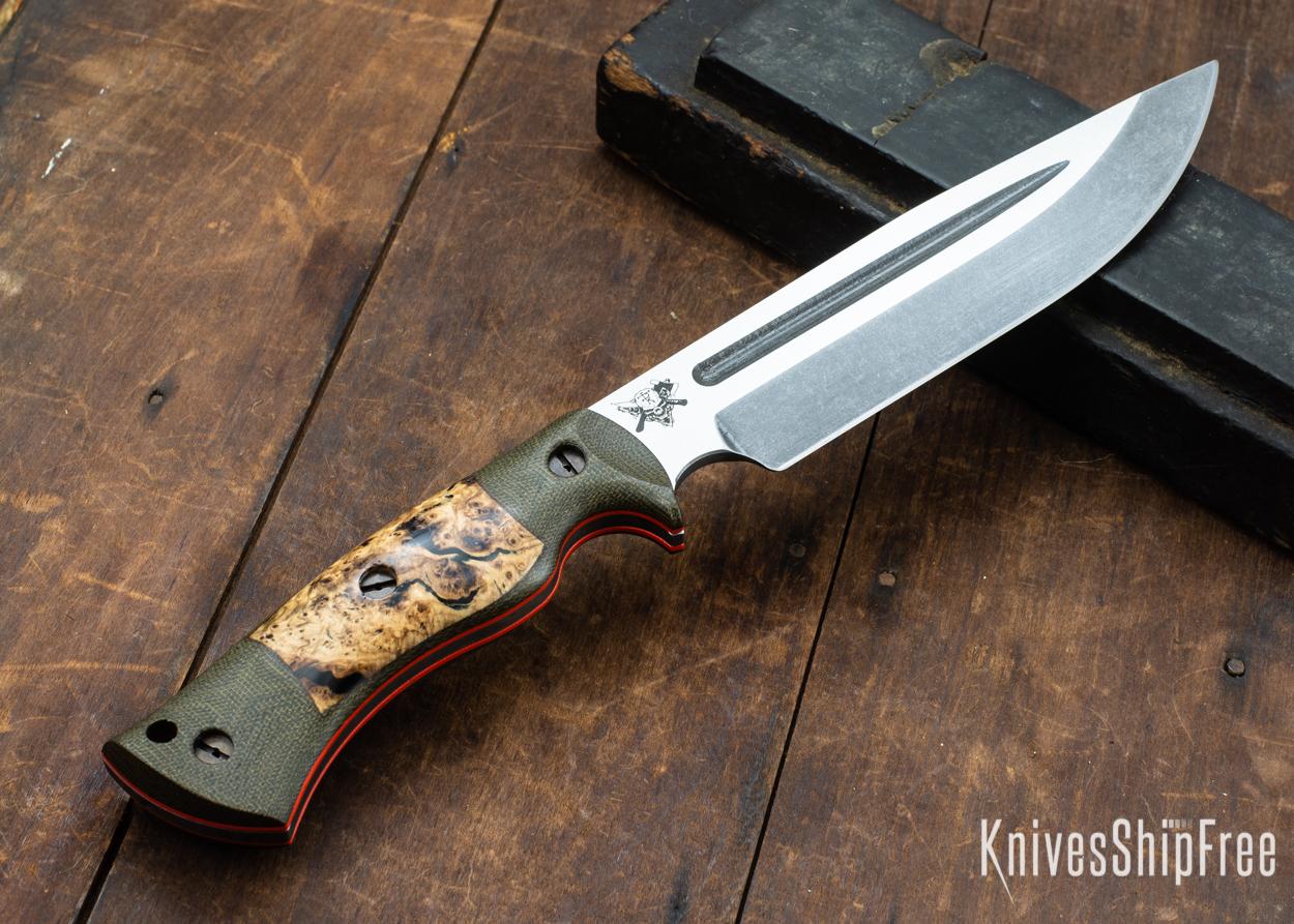 Dark Timber Knives: Honey Badger 3V - Green Micarta - Black Ash Burl - Orange Liners - Acid Washed - 121669
