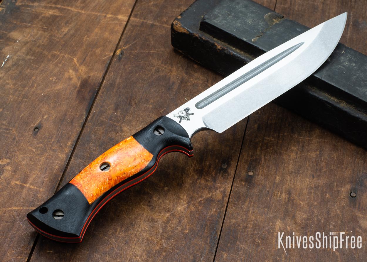 Dark Timber Knives: Honey Badger 3V - Black Micarta - Blaze Orange Box Elder - Orange Liners - Tumbled - 121607