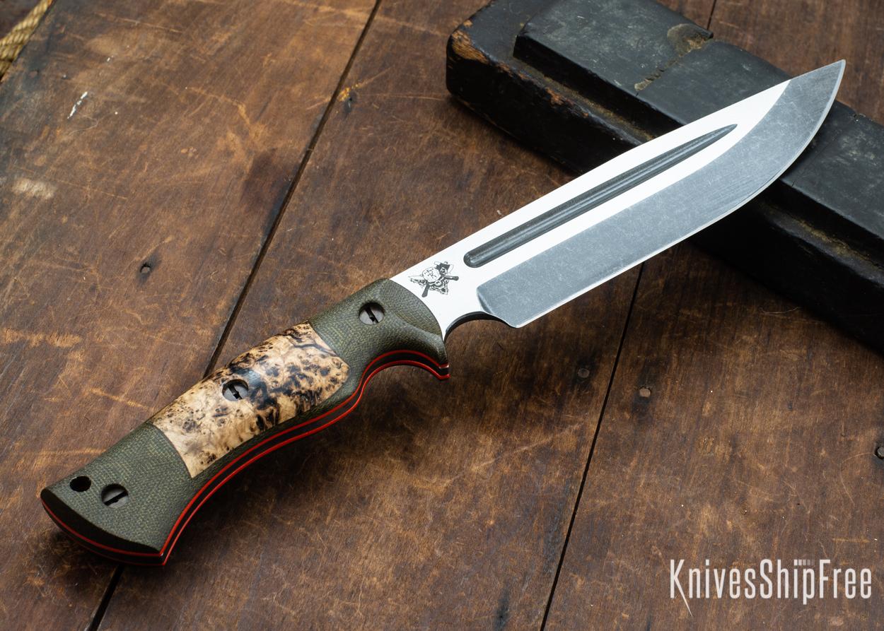 Dark Timber Knives: Honey Badger 3V - Green Micarta - Black Ash Burl - Orange Liners - Acid Washed - 121670
