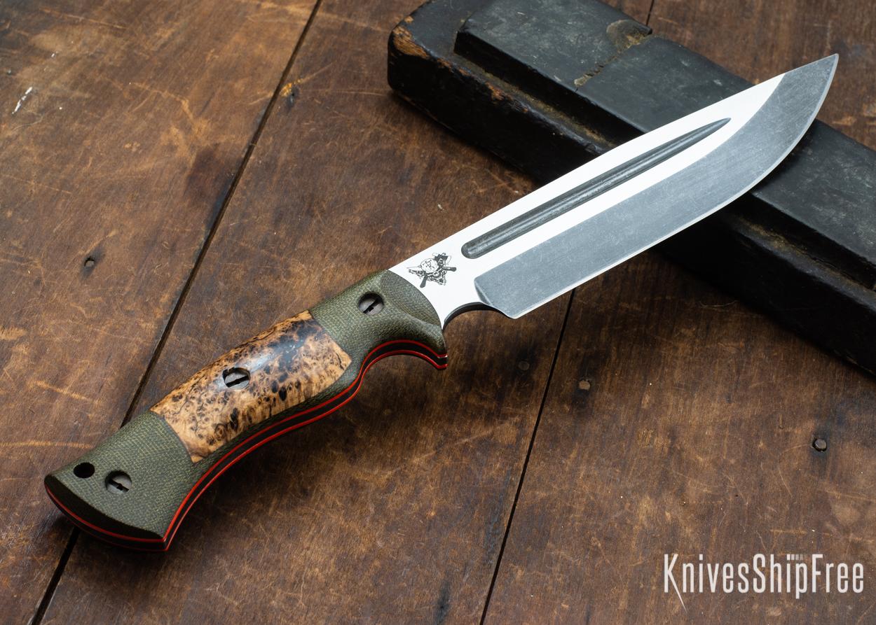 Dark Timber Knives: Honey Badger 3V - Green Micarta - Black Ash Burl - Orange Liners - Acid Washed - 121671
