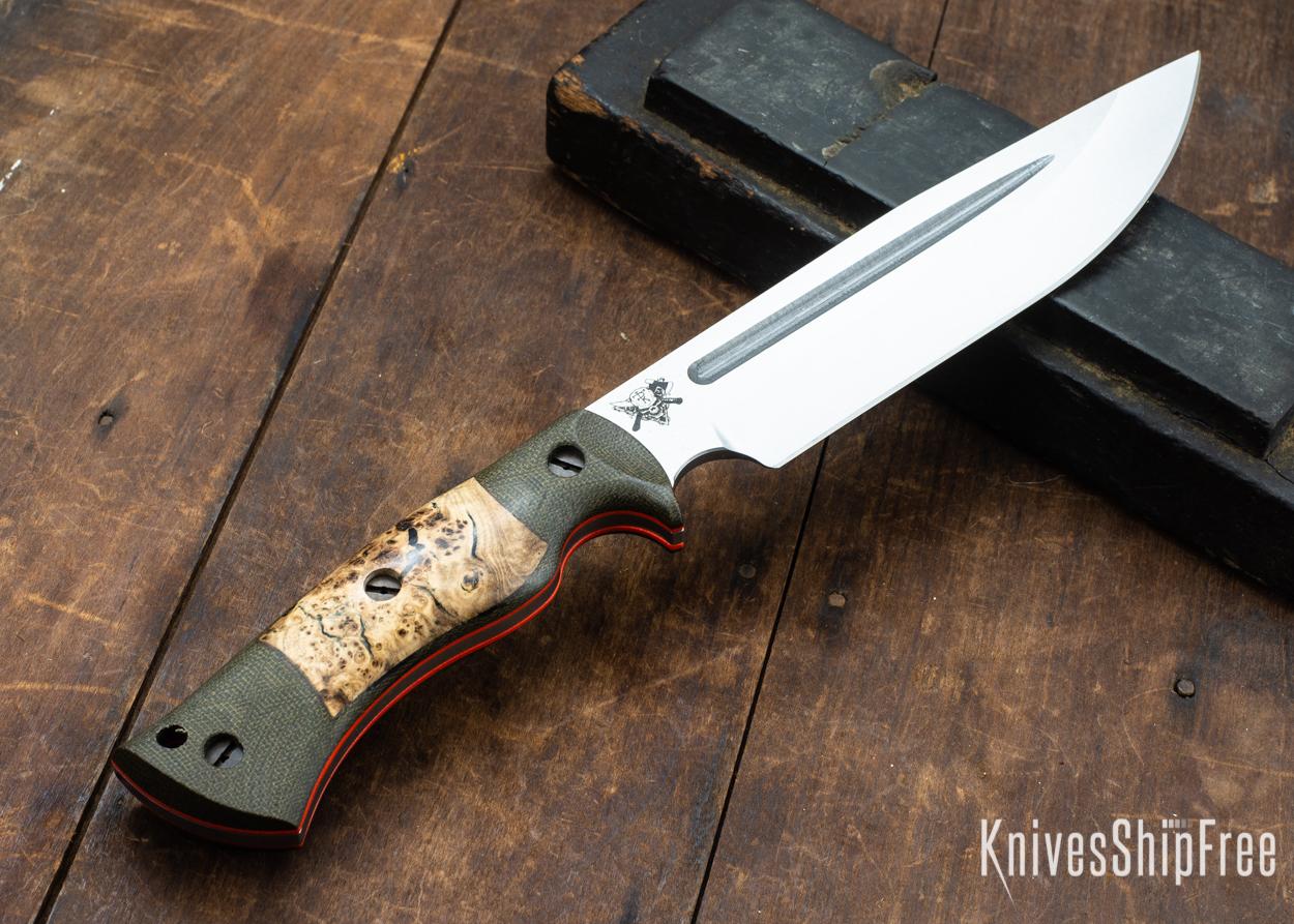 Dark Timber Knives: Honey Badger 3V - Green Micarta - Black Ash Burl - Orange Liners - Satin - 121672
