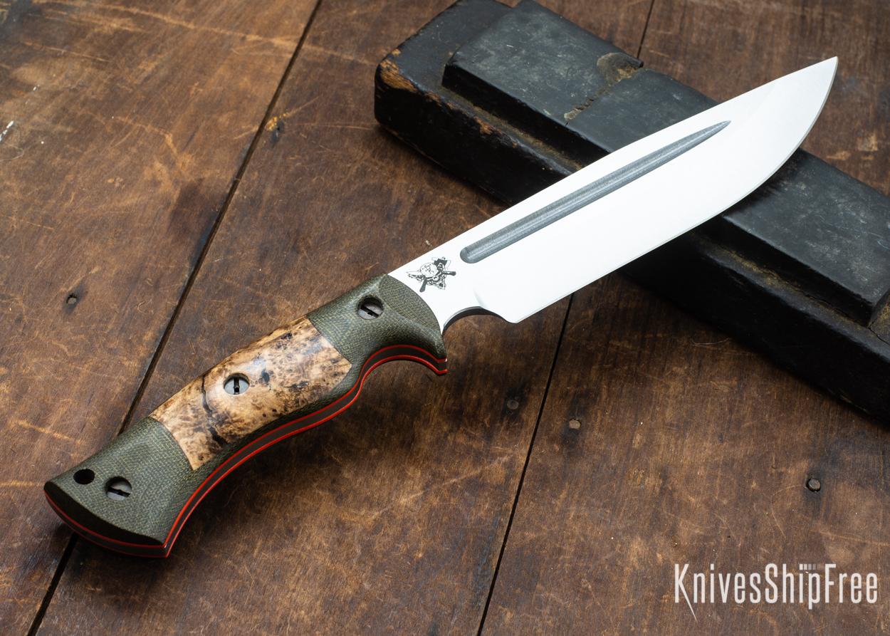 Dark Timber Knives: Honey Badger 3V - Green Micarta - Black Ash Burl - Orange Liners - Satin - 121673