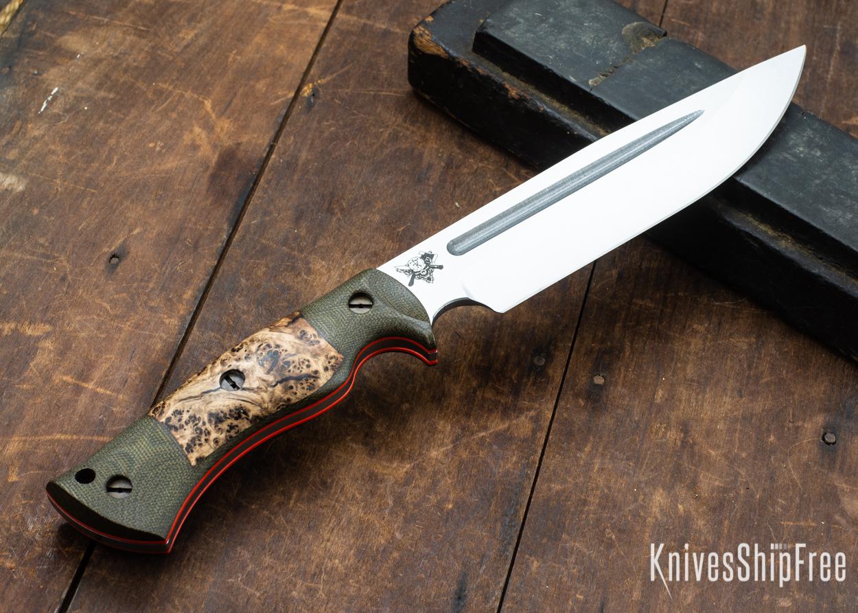 Dark Timber Knives: Honey Badger 3V - Green Micarta - Black Ash Burl - Orange Liners - Satin - 121674