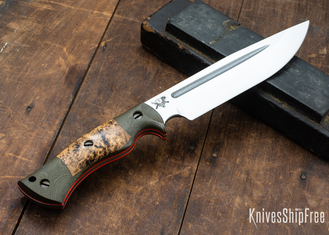 Dark Timber Knives: Honey Badger 3V - Green Micarta - Black Ash Burl - Orange Liners - Satin - 121675