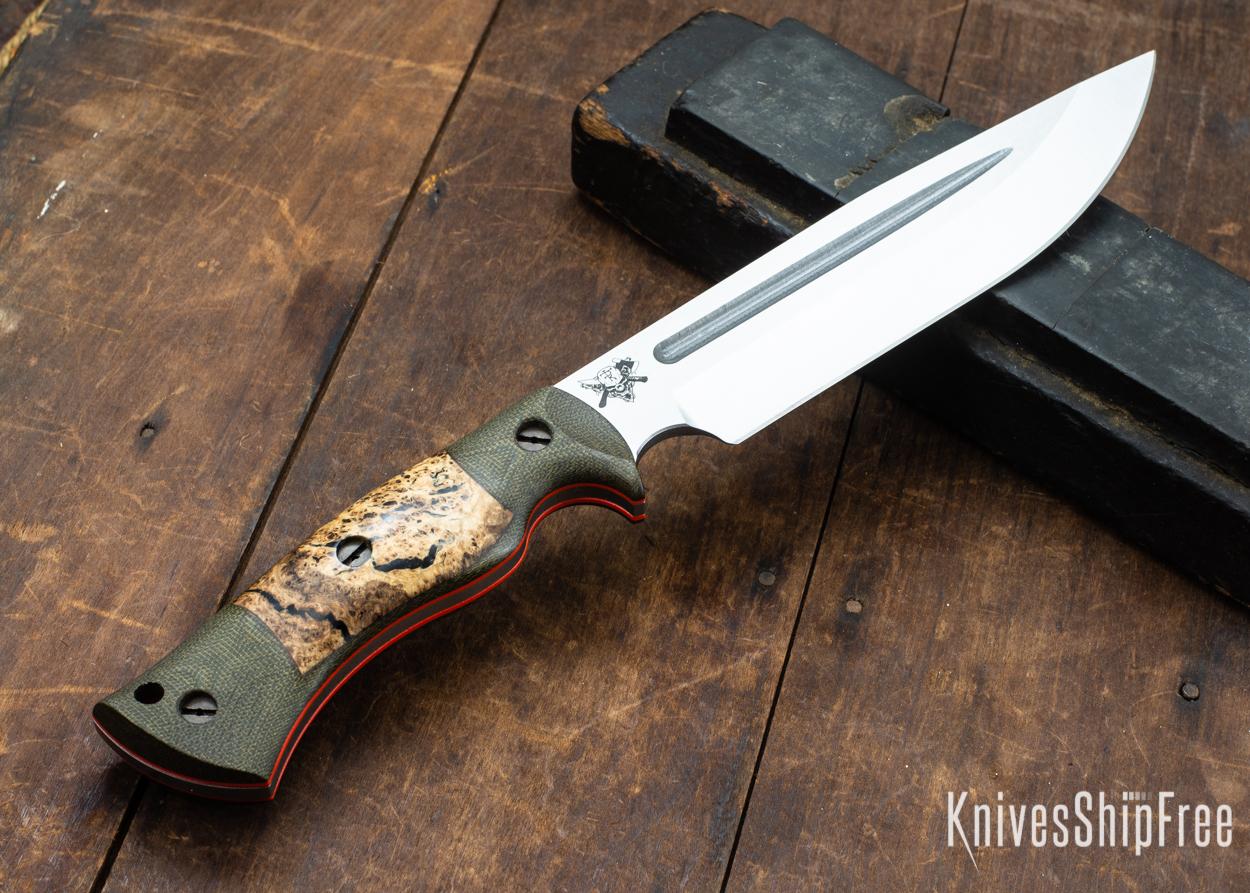 Dark Timber Knives: Honey Badger 3V - Green Micarta - Black Ash Burl - Orange Liners - Satin - 121677