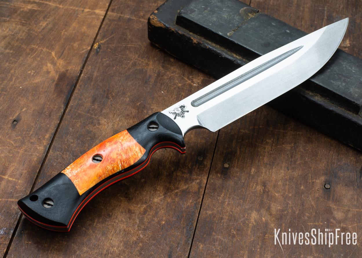 Dark Timber Knives: Honey Badger 3V - Black Micarta - Blaze Orange Box Elder - Orange Liners - Tumbled - 121609