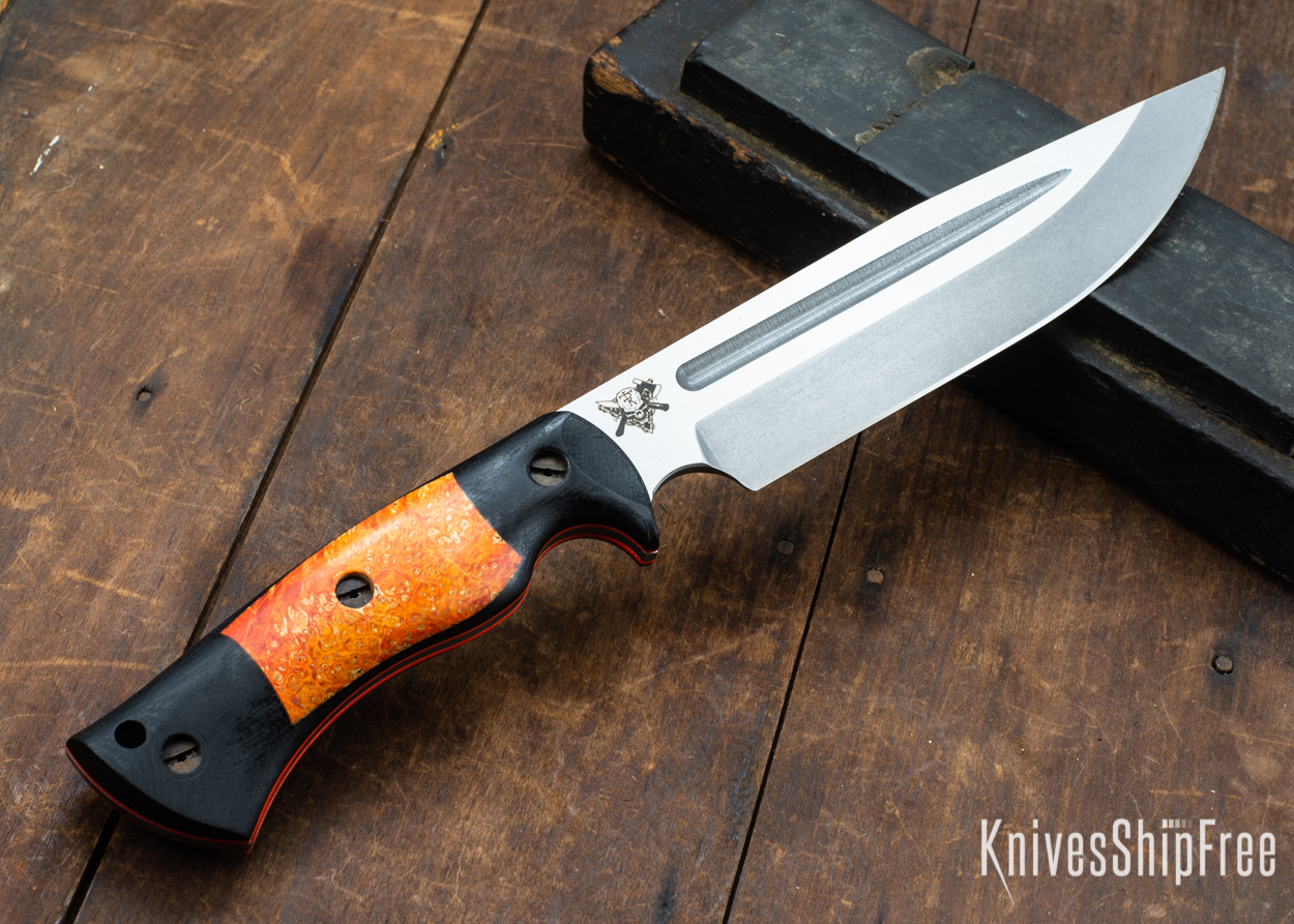 Dark Timber Knives: Honey Badger 3V - Black Micarta - Blaze Orange Box Elder - Orange Liners - Tumbled - 121608