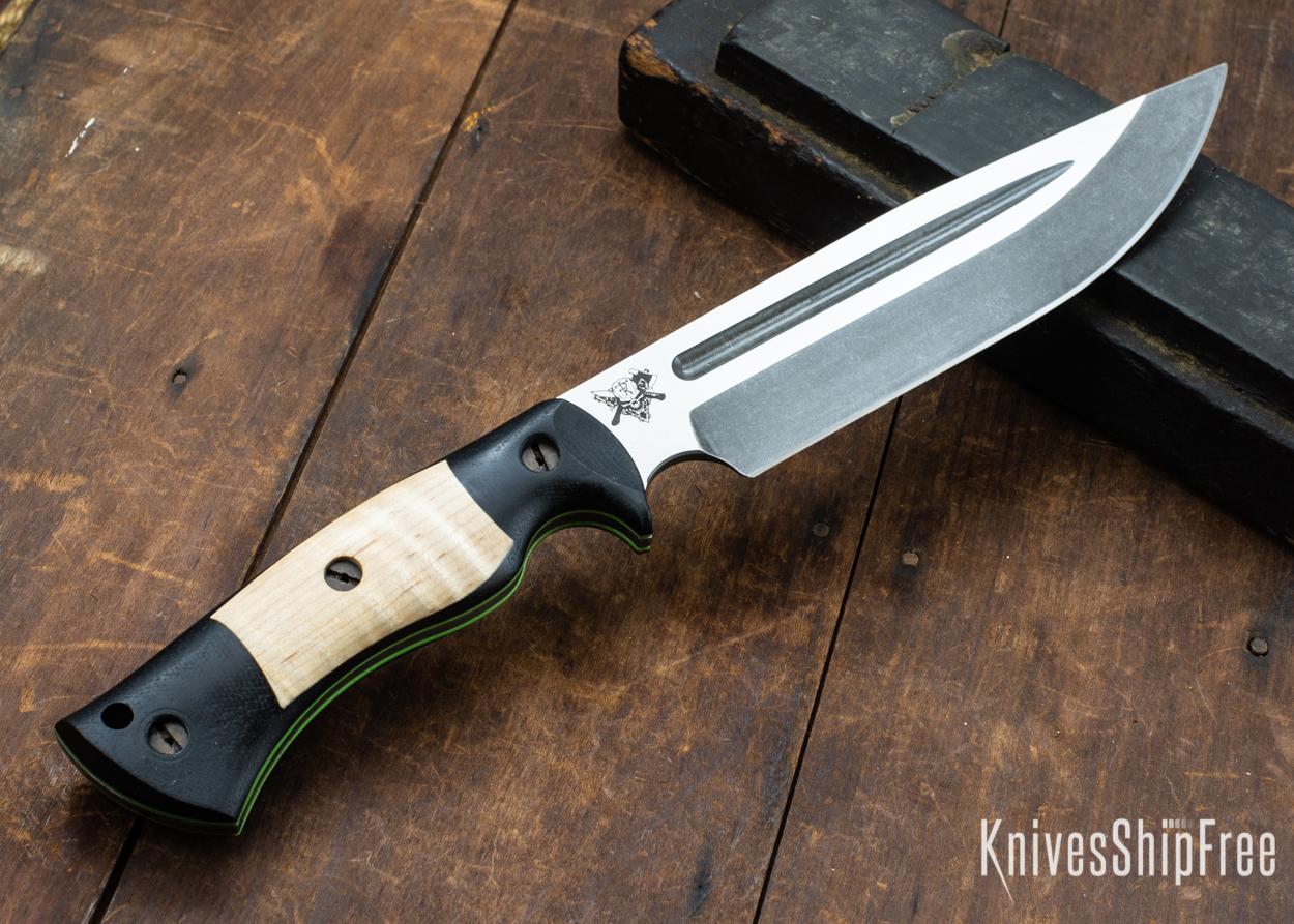 Dark Timber Knives: Honey Badger 3V - Black Micarta - Natural Curly Maple - Green Liners - Acid Washed - 121615