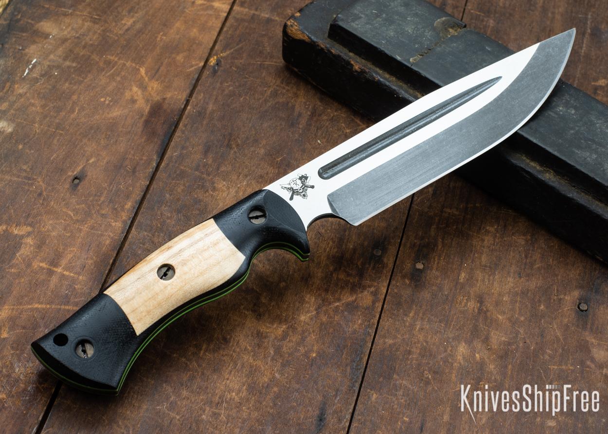 Dark Timber Knives: Honey Badger 3V - Black Micarta - Natural Curly Maple - Green Liners - Acid Washed - 121618