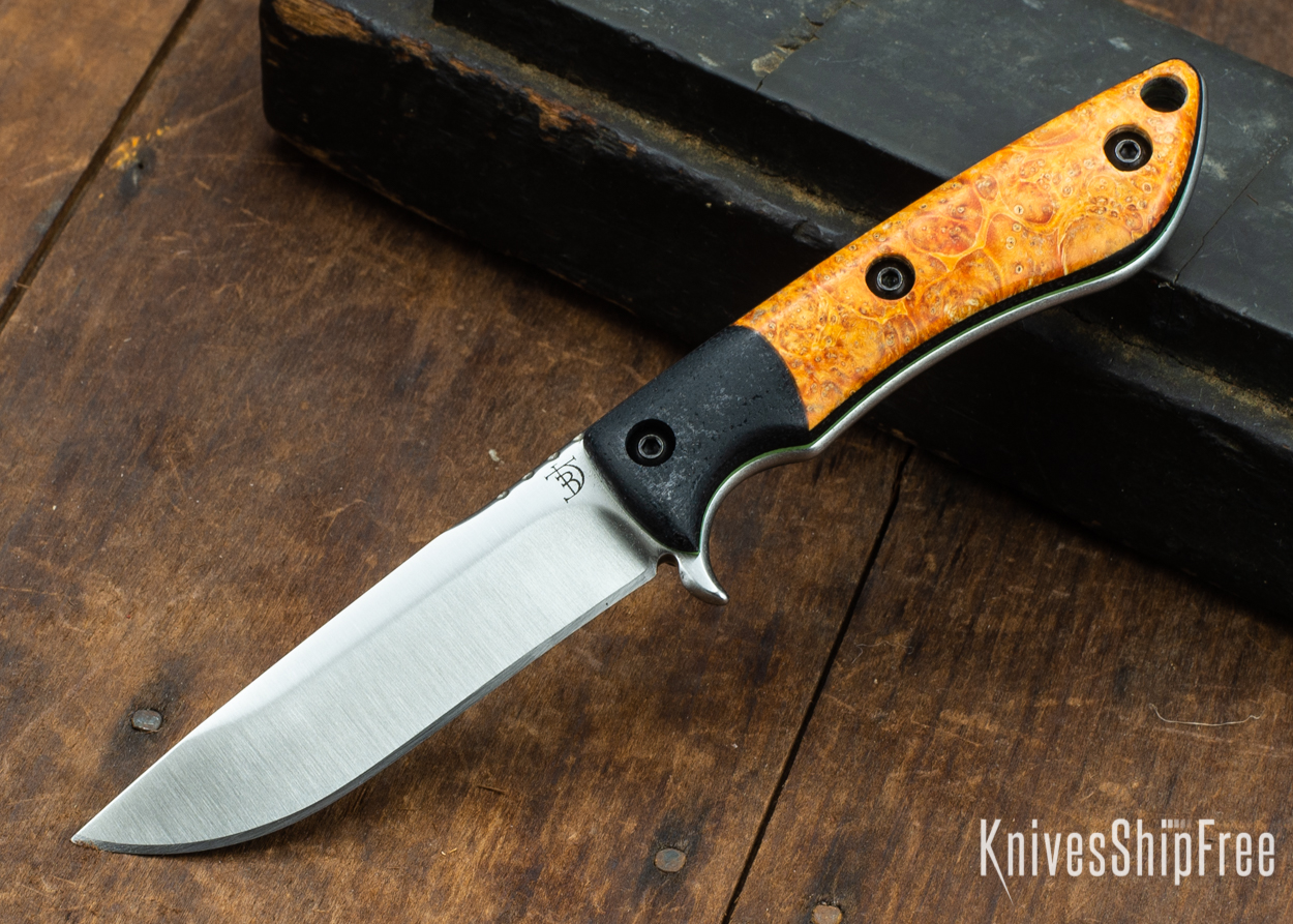 Dark Timber Knives: Tavi AEBL - Black Micarta - Blaze Orange Box Elder Burl - Green Liners - Satin - 121811