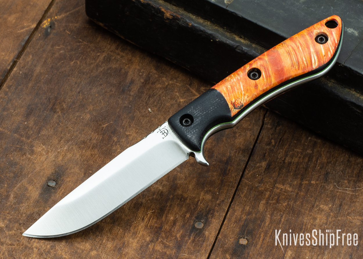 Dark Timber Knives: Tavi AEBL - Black Micarta - Blaze Orange Box Elder Burl - Green Liners - Satin - 121812