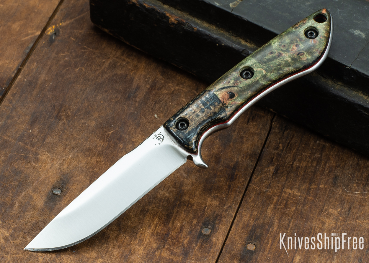Dark Timber Knives: Tavi AEBL - Black & Tan ShadeTree Micarta - Green Maple Burl - Red Liners - Satin - 121815