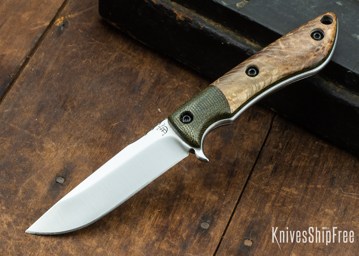 Dark Timber Knives: Tavi AEBL - Green Micarta - Black Ash Burl - White Liners - Satin - 121817