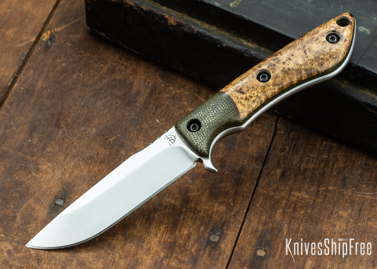 Dark Timber Knives: Tavi AEBL - Green Micarta - Black Ash Burl - White Liners - Satin - 121820