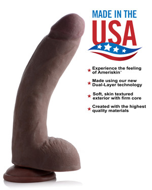 10 Inch Ultra Real Dual Layer Suction Cup Dildo- Dark Skin Tone