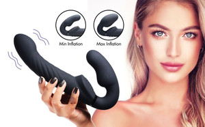 Ergo-fit Twist Inflatable Vibrating Silicone Strapless Strap-on - Black