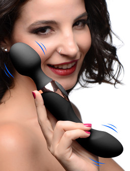10x Dual Duchess 2-in-1 Silicone Massager - Black - AG262-Black