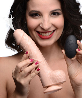 8.5 Inch Vibrating Squirting Dildo With Remote Control - Light
