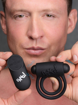 Remote Control 28x Vibrating Cock Ring And Bullet - Black