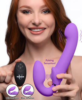 10x Remote Control Ergo-fit G-pulse Inflatable And Vibrating Strapless Strap-on - Purple