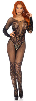 Net And Lace Crotchless Bodystocking