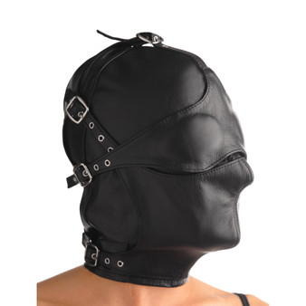 Asylum Leather Hood With Removable Blindfold And Muzzle- Sm