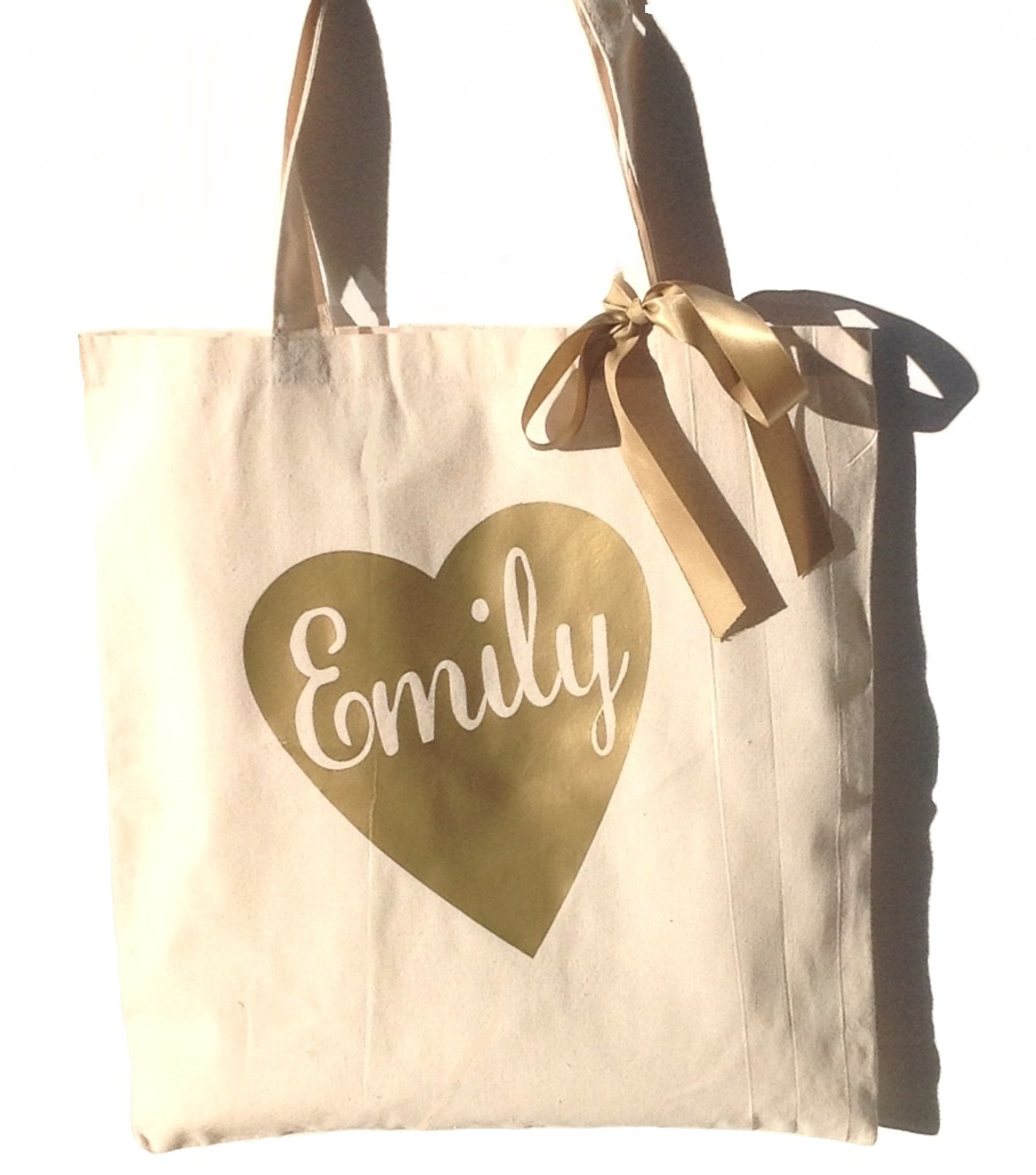 1e3bf171a2c26 Heart Personalized Canvas Tote Bag With Satin Ribbon