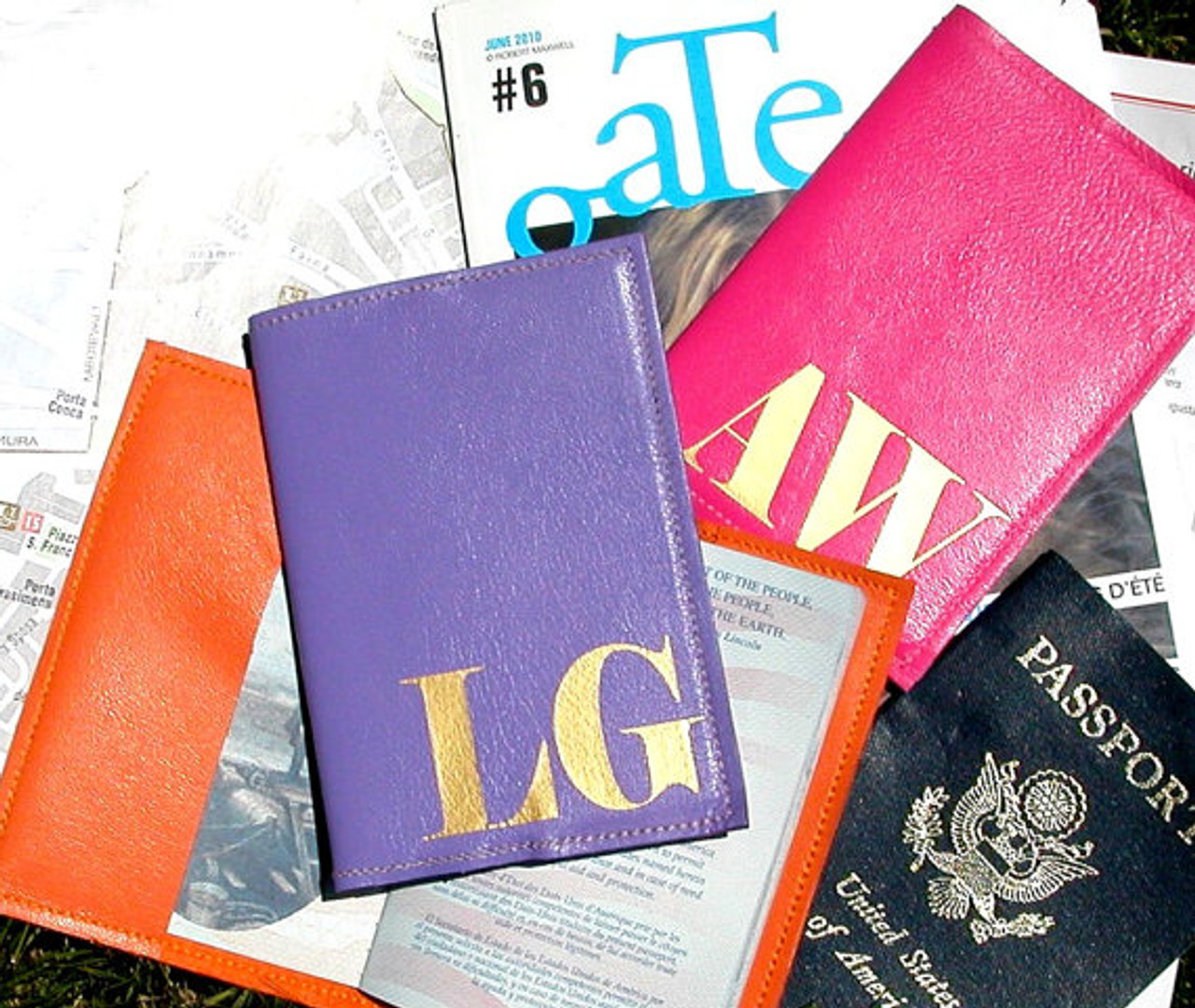 7d0dd16c3a97 Mia Personalized & Monogrammed Leather Passport Cover Holder