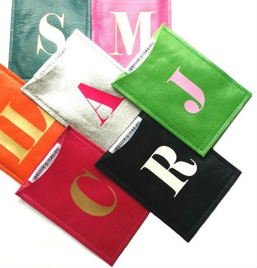 Sasha Personalized Leather Business Card Case, Sasha Personalized Credit Card Sleeve, Sasha Personalized Leather Oyster Card Holder