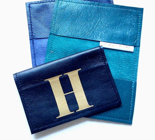 Men's Metro Personalized Leather Business Card Holder & Travel Card Holder