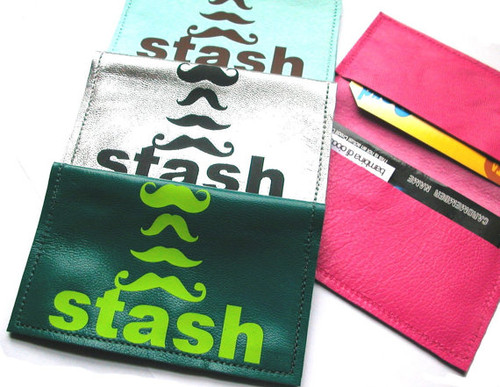 Moustache Leather Business Card Holder & Credit Card Case